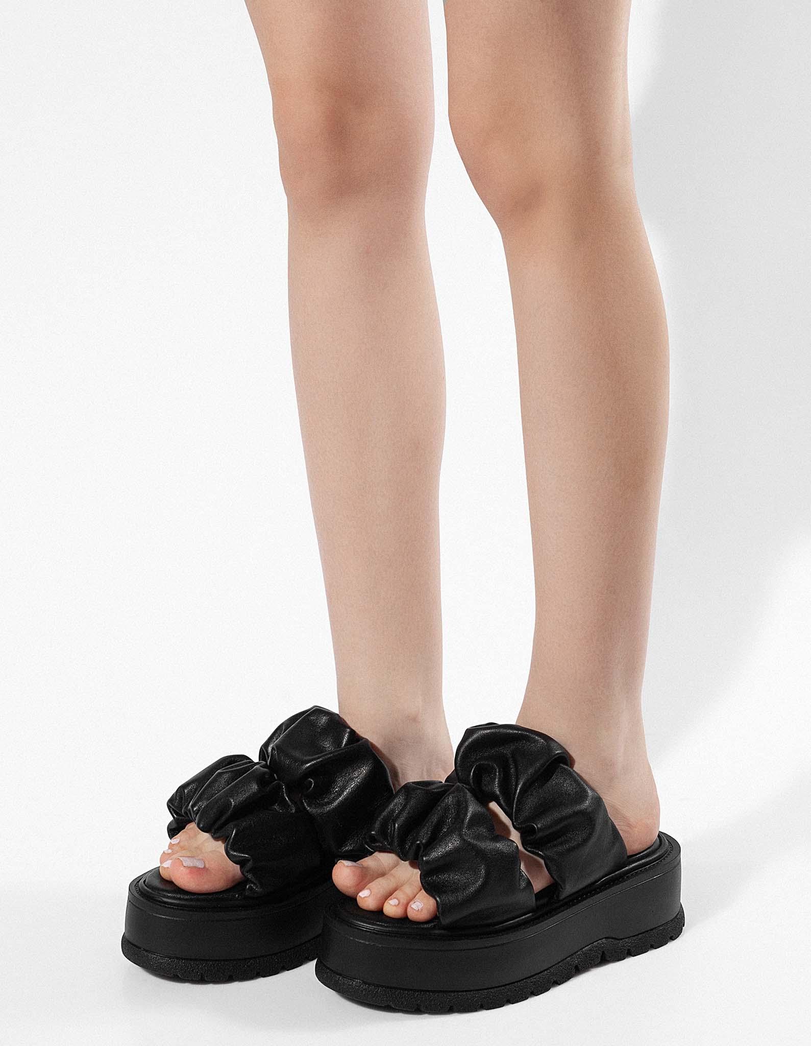 Sandale piele neagra MIDSUMMER