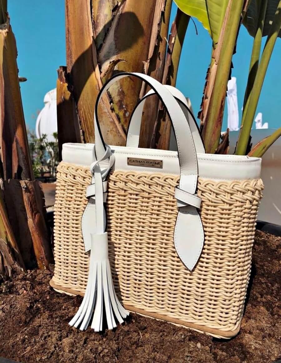 Geanta basket WHITE DAISY