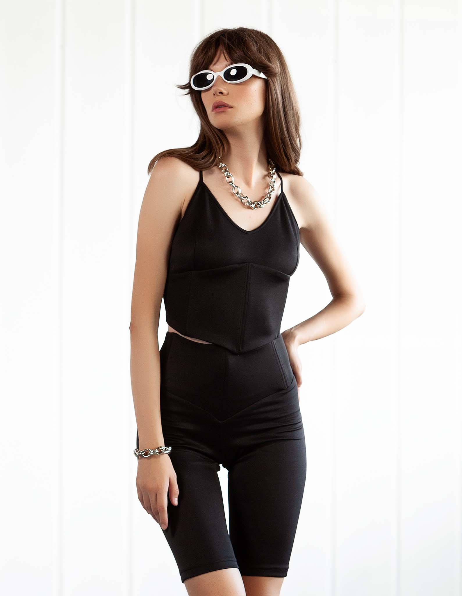 Top - corset negru CLEPSIDRA
