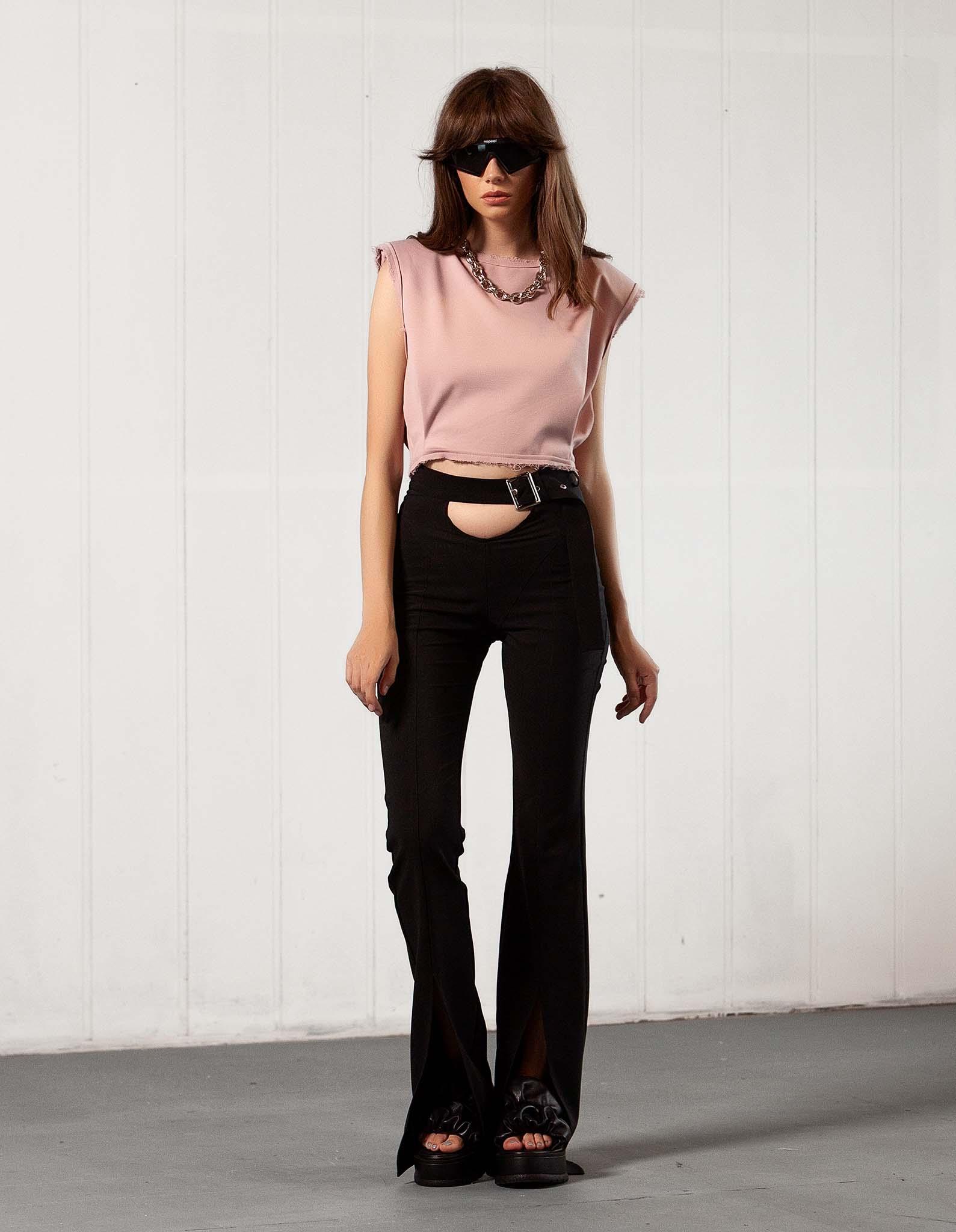 Pantalon negru decupat L.A. BABE
