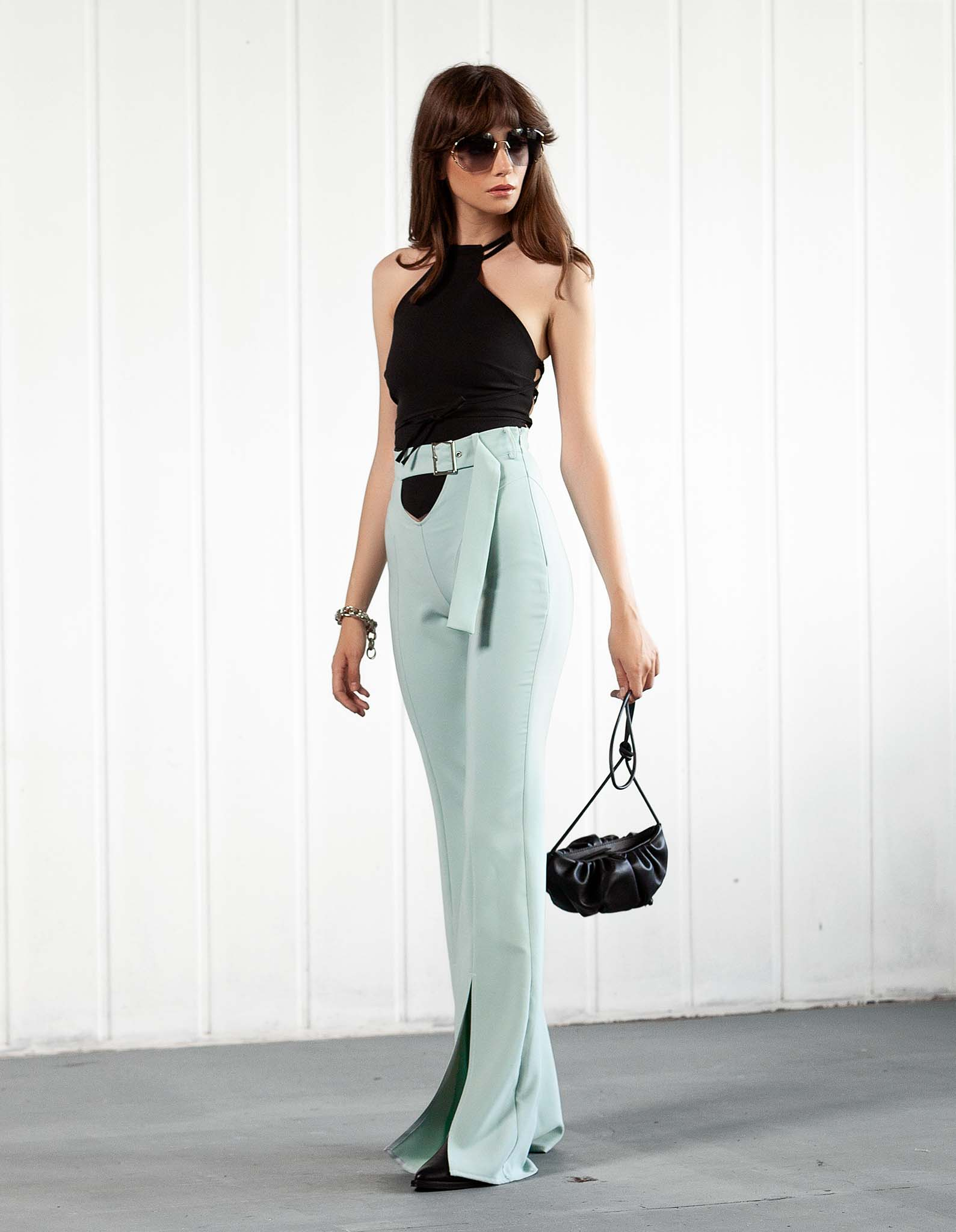 Pantaloni mint decupati L.A. BABE