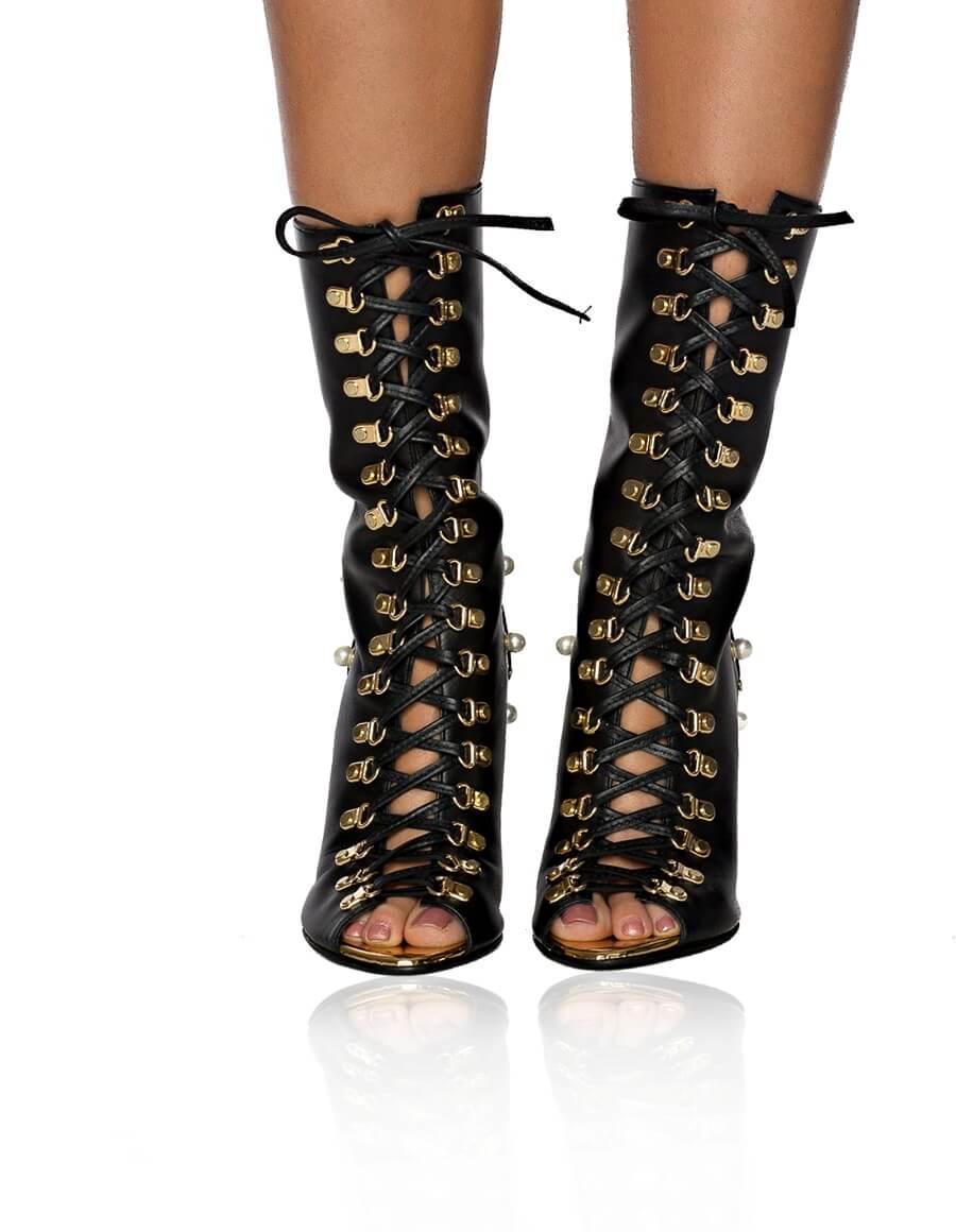 Sandale piele lace-up CHARLIE
