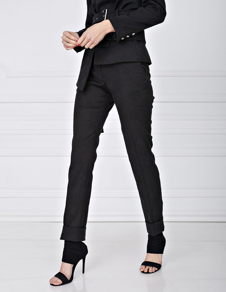 Pantaloni brocard brodat MONOCHROME