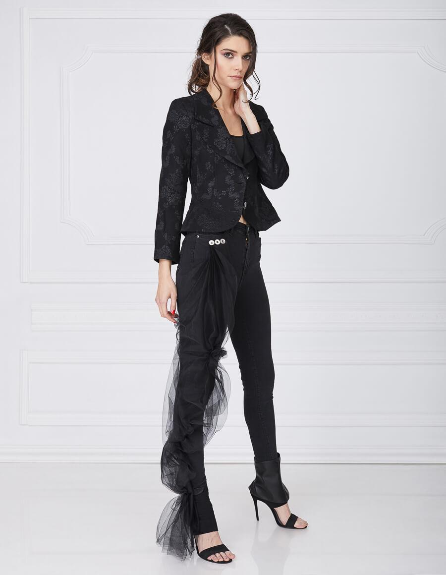 Jeans negru cu tull AMOUR