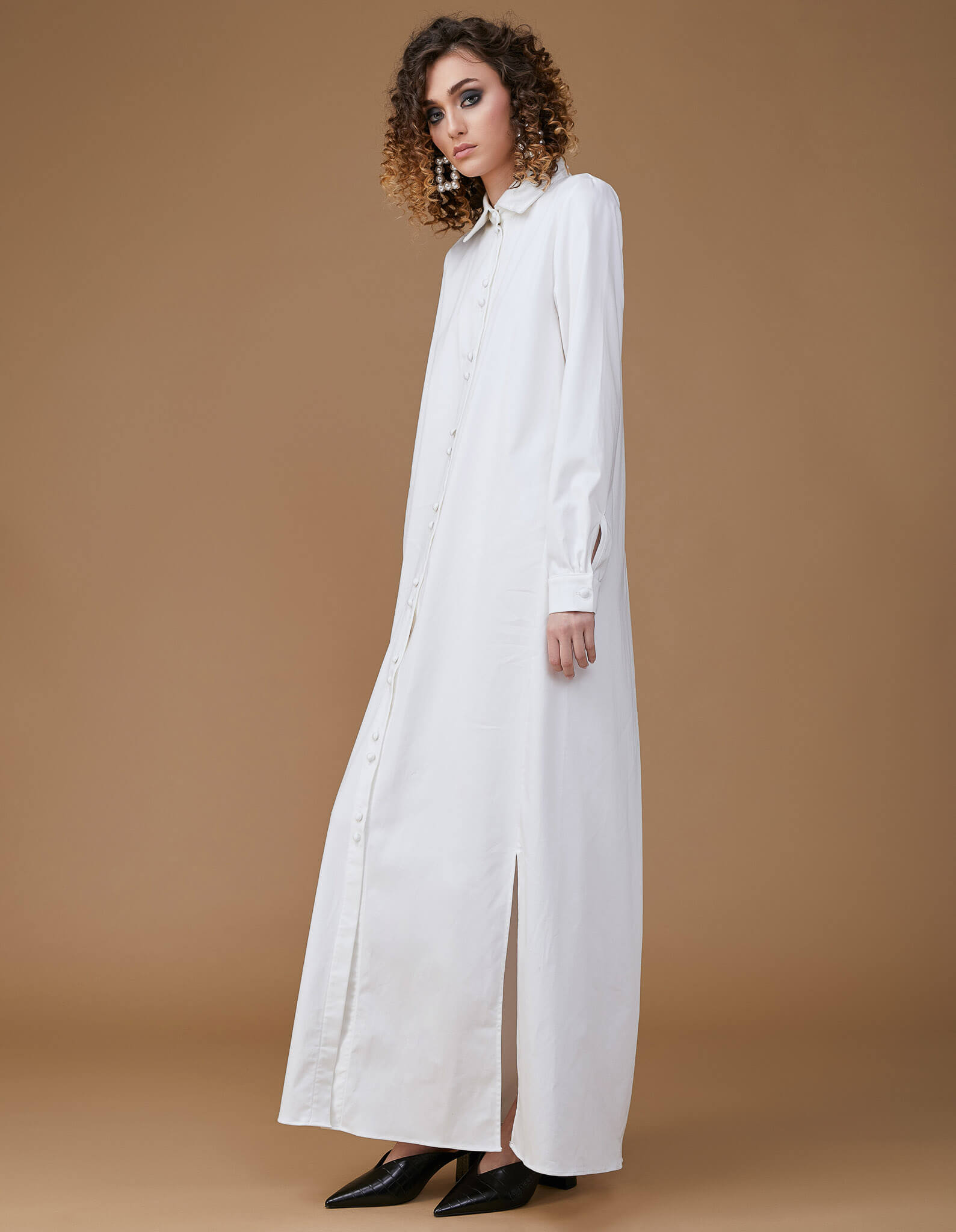 MINIMAL White Cooton Shirt-Dress