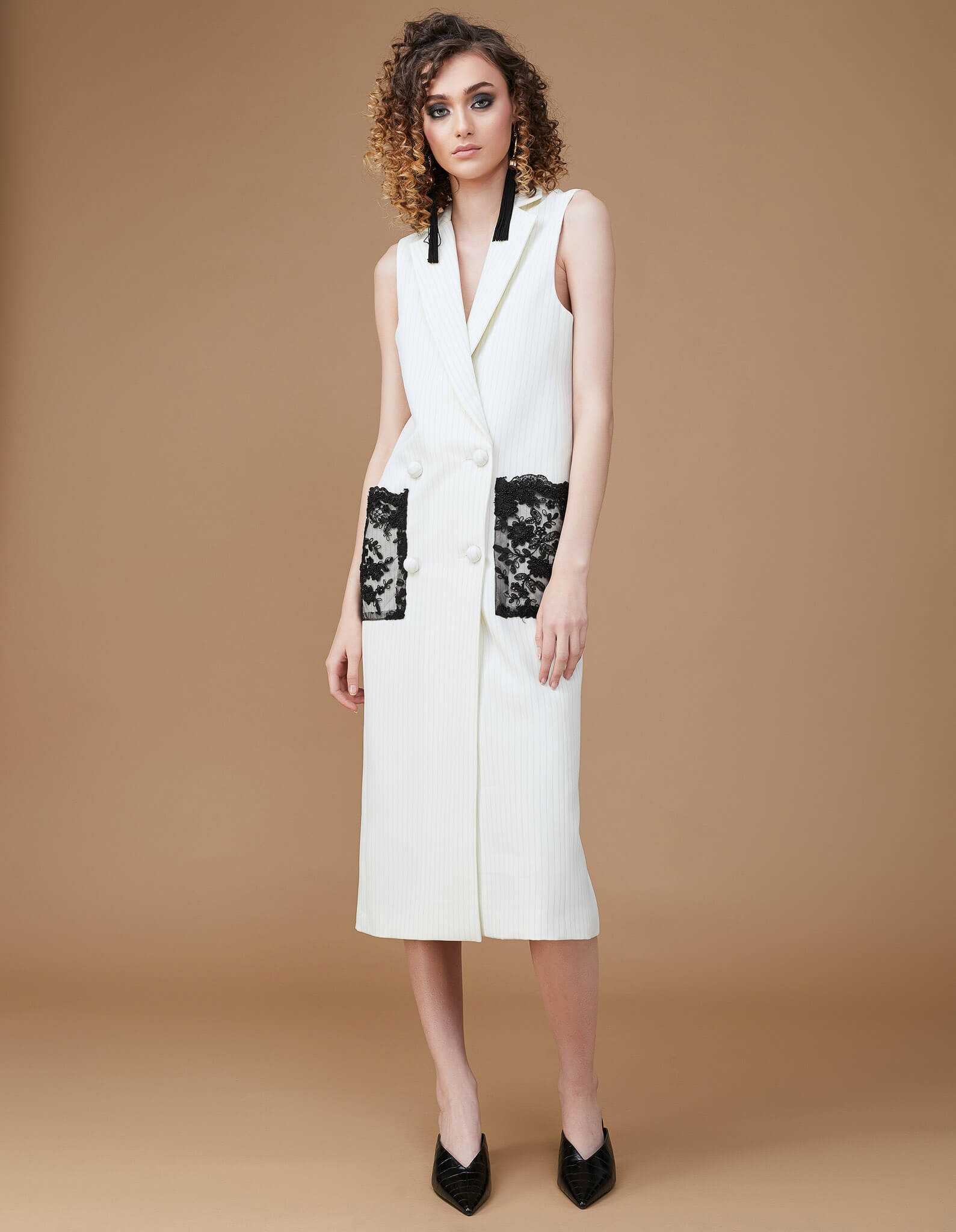 EVERYDAY Embroidered Ivory Dress-Vest