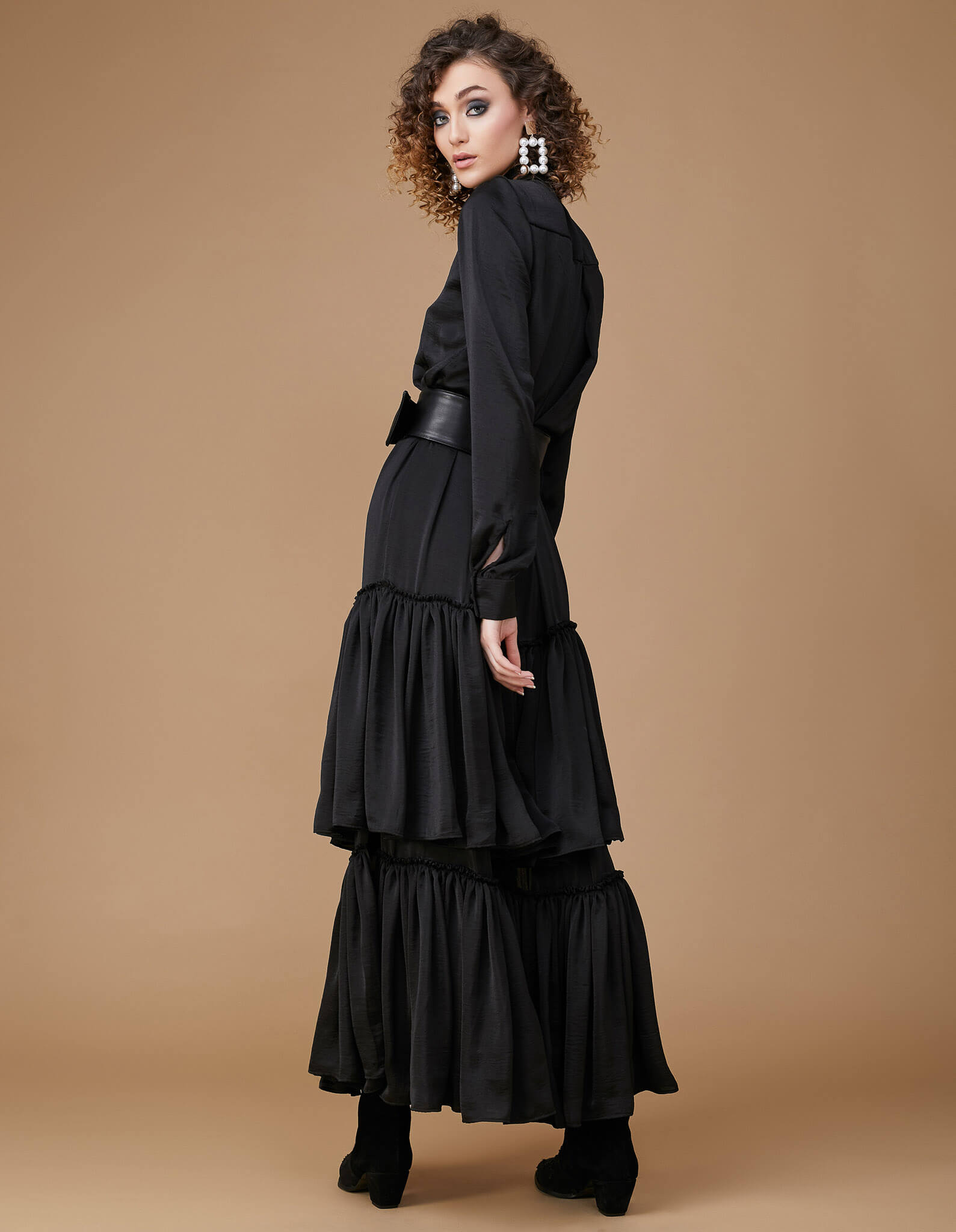 SUMMER Black Silk Long Dress